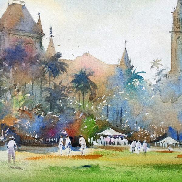 Cricket in whites ... under morning light ...