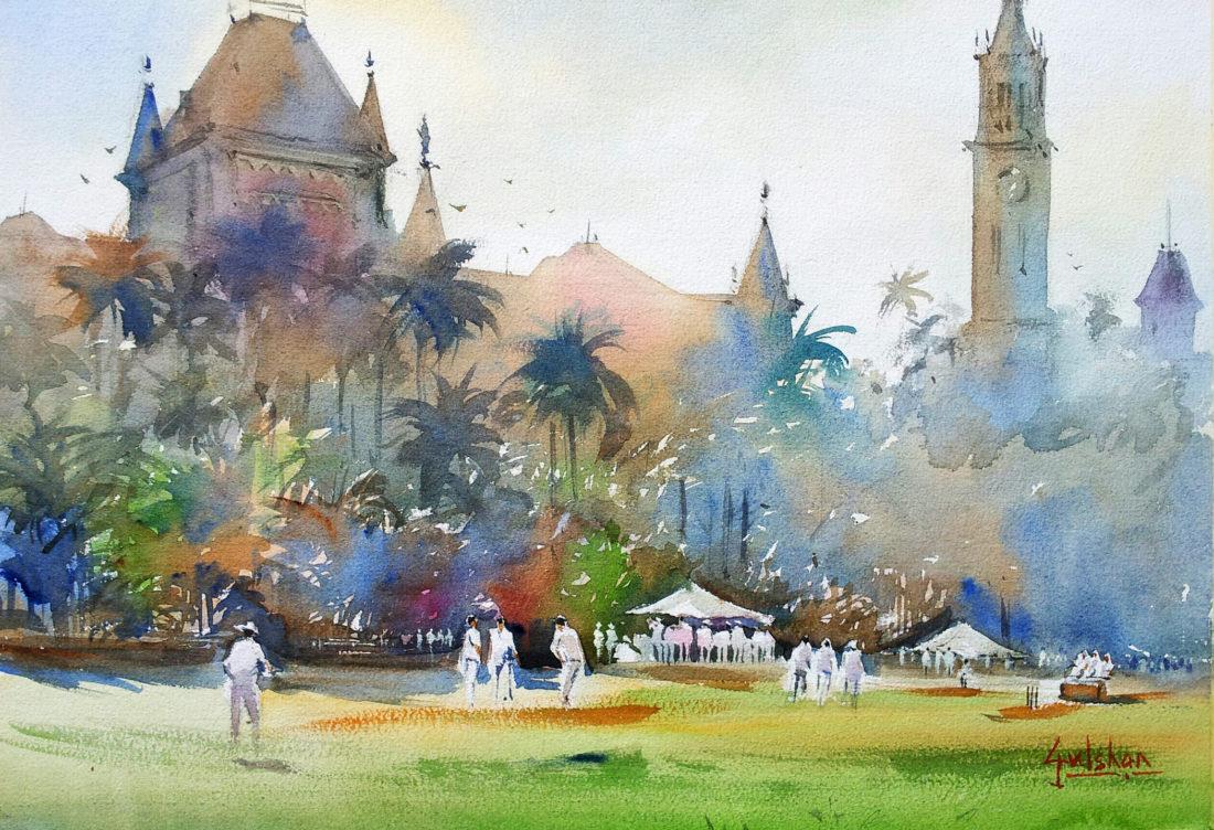 Cricket in whites … under morning light …